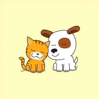 Мультипликационный персонаж милый кот и собака