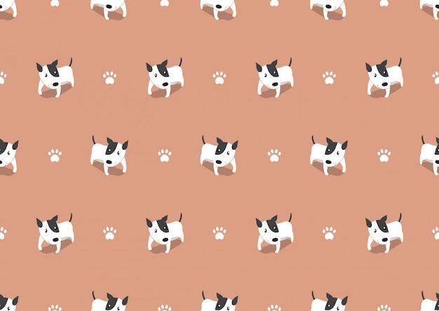 ベクトル漫画かわいい犬のシームレスなパターン背景