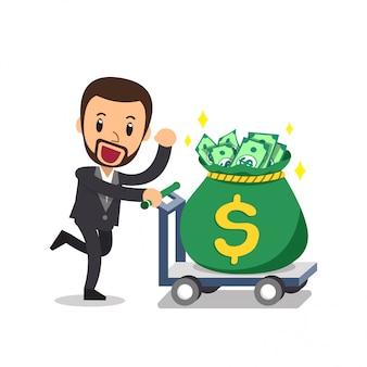 Мультфильм бизнесмен толкает большой мешок денег