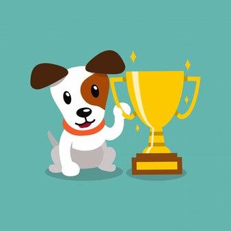 Мультипликационный персонаж джек рассел терьер собака держит награду золотой кубок