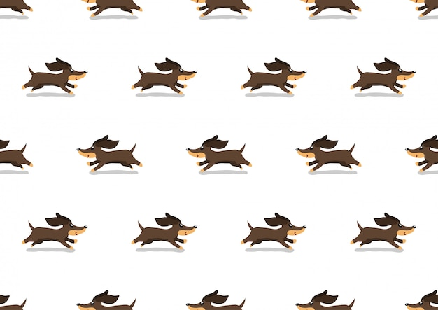 漫画かわいいダックスフント犬のシームレスなパターン背景