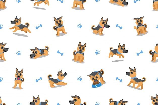 文字ジャーマン・シェパード犬のシームレスなパターン背景