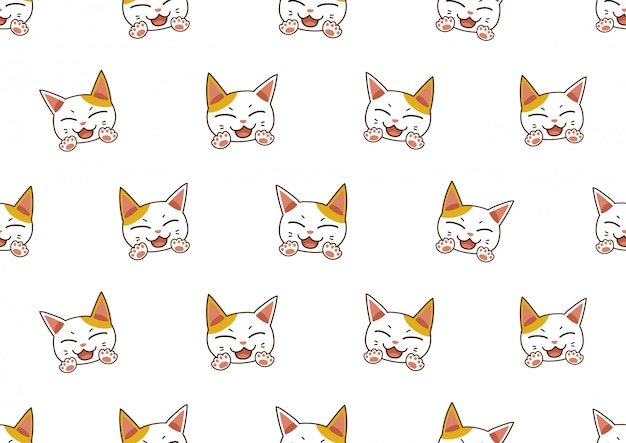 漫画文字かわいい猫のシームレスなパターン背景