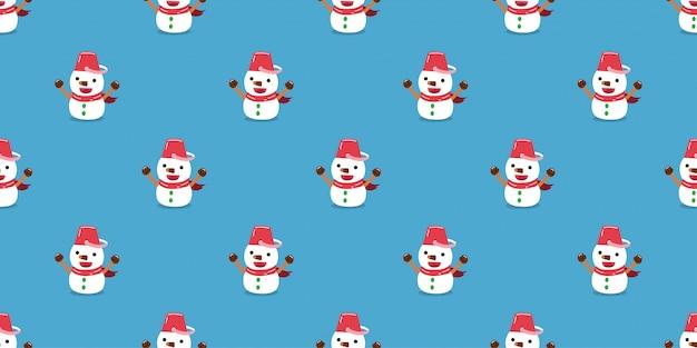 メリークリスマスかわいいキャラクター雪だるまのシームレスなパターン背景