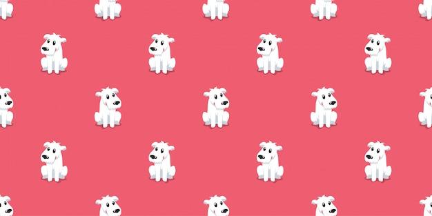漫画のキャラクターのかわいい犬のシームレスなパターン背景
