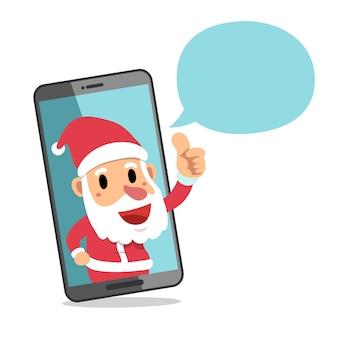スマートフォンとスピーチの泡とサンタクロース