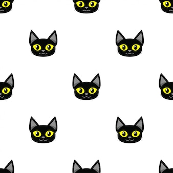 漫画黒猫のシームレスなパターン背景