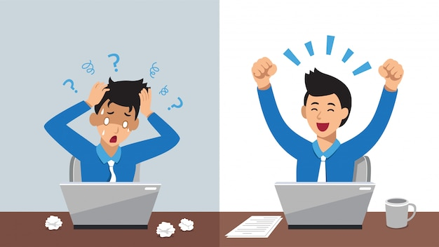 Мультипликационный персонаж бизнесмен, выражая разные эмоции