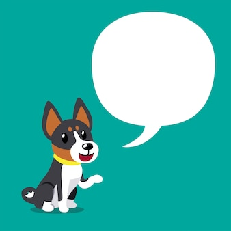 スピーチの泡と漫画キャラクターバセンジー犬