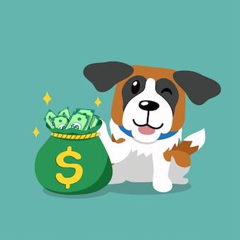 Вектор мультипликационный персонаж сенбернар с мешком денег