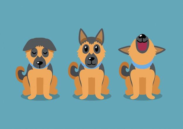 ジャーマン・シェパード犬のポーズ、漫画のキャラクター