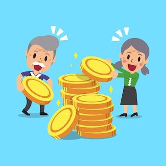 お金のコインを持つ漫画高齢者