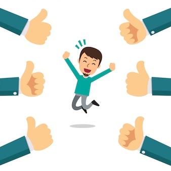 Векторный мультфильм счастливый человек с большими пальцами руки вверх