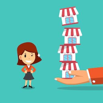 Векторный мультфильм рука с бизнес-концепцией франшизы и предприниматель