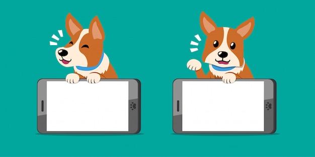 漫画のキャラクターのかわいいコーギー犬とスマートフォン