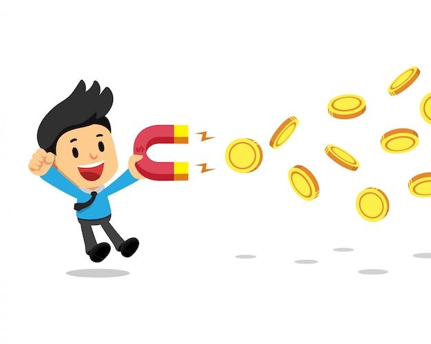 磁石を使用してお金を引き付ける漫画ビジネスコンセプトビジネスマン