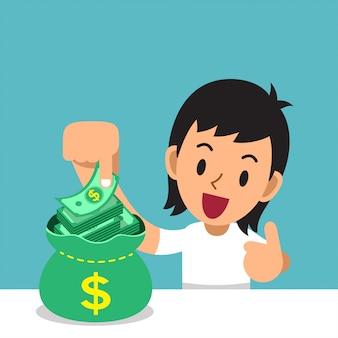Бизнес-концепция мультфильм человек с мешком денег