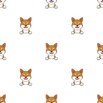 漫画のキャラクター柴犬犬のシームレスなパターン背景