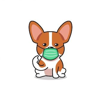 防護マスクを身に着けている漫画キャラクターコーギー犬