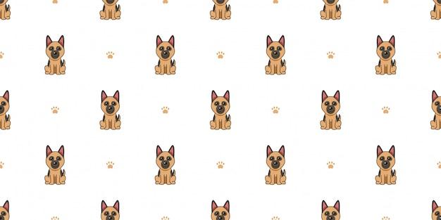 漫画のキャラクターのジャーマン・シェパード犬のシームレスなパターン背景