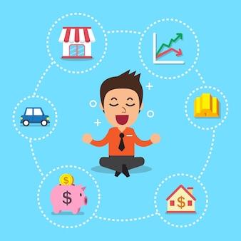 異なる投資オプションを持つビジネスマン