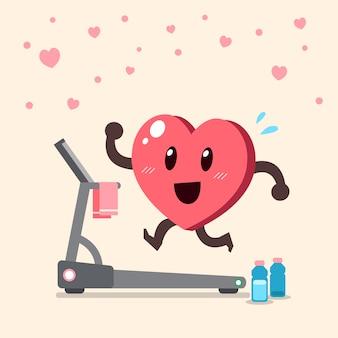 トレッドミルで走っている漫画の心臓キャラクター
