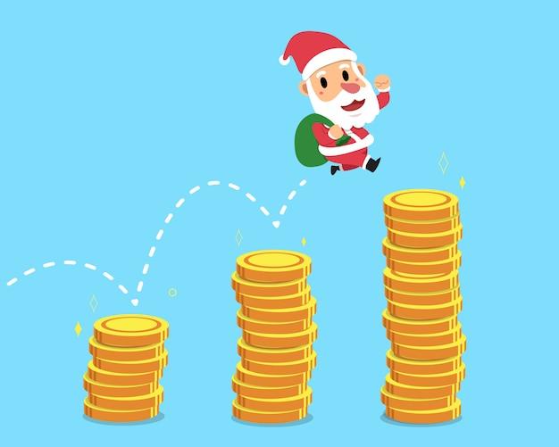 お金のスタックの上にジャンプするクリスマスのサンタクロース