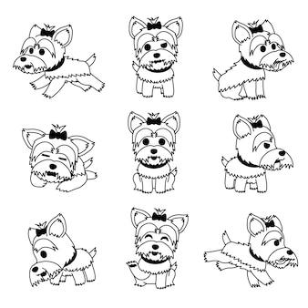 漫画のキャラクターのヨークシャーテリア犬のポーズセット