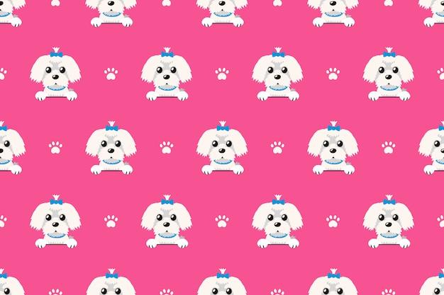 ベクトル漫画のキャラクターマルタ犬のシームレスパターン