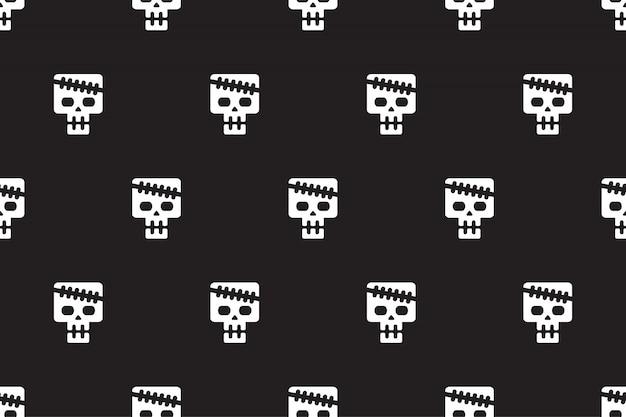 ベクトル漫画の頭蓋骨のシームレスパターン