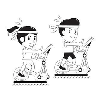 男と女の楕円形のマシンで運動漫画します。