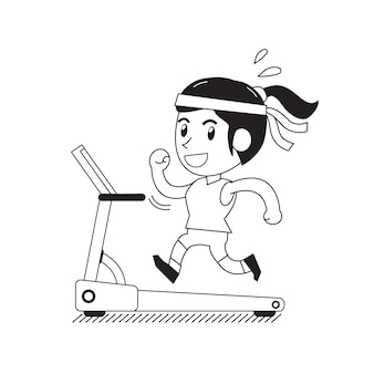 トレッドミルで走っている漫画女性