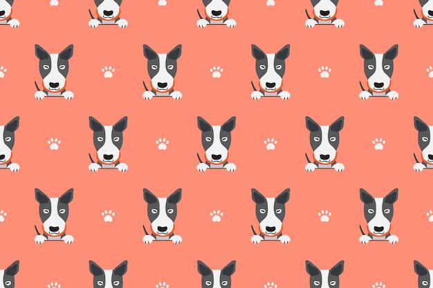ベクトル漫画文字ブルテリア犬のシームレスパターン