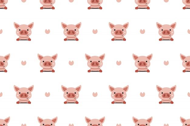 ベクトル漫画のキャラクターかわいい豚のシームレスなパターン背景
