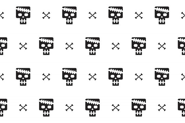 頭蓋骨と骨のシームレスパターン背景