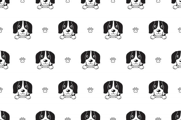 ビーグル犬のシームレスパターン