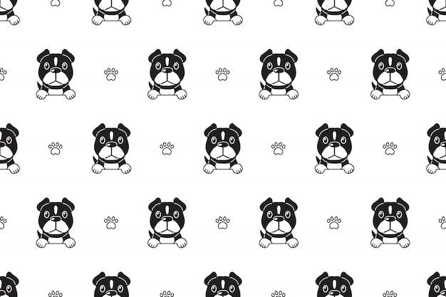 文字ピット・ブルテリア犬のシームレスパターン