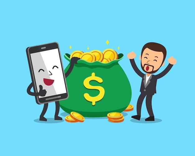 ビジネスマンおよびお金の袋を持つスマートフォン