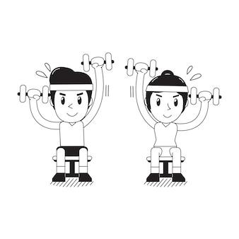 男と女の交互着席ダンベルプレス運動を行う