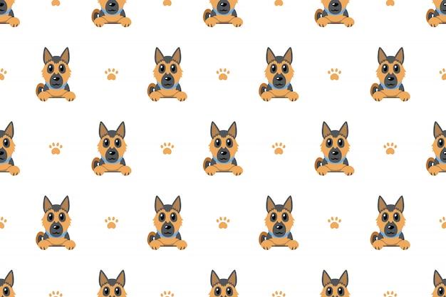 ジャーマン・シェパード犬のシームレスパターン背景