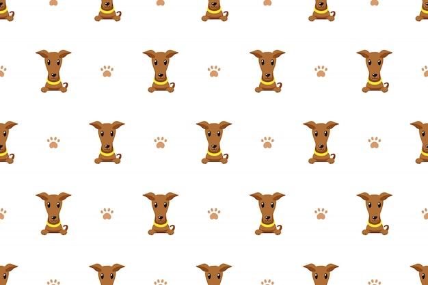 ブラウングレイハウンド犬のシームレスなパターン背景
