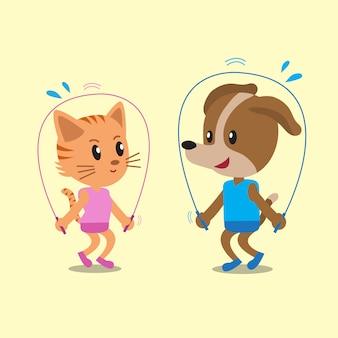 猫と犬が一緒に縄跳びを漫画します。