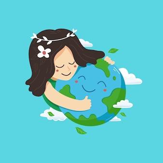 母なる地球の日のベクトル図