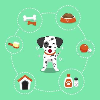 Векторная мультяшный персонаж далматинской собаки и аксессуаров