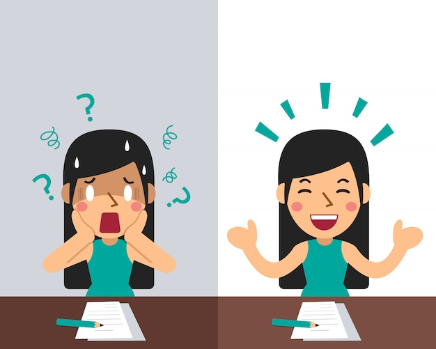 さまざまな感情を表現する女性を漫画する
