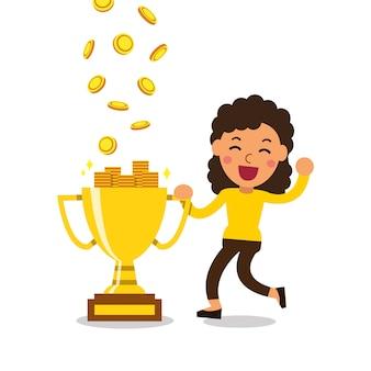 Мультфильм женщина зарабатывает деньги с трофеем