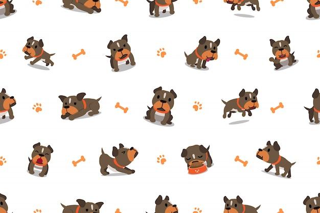 ベクトル漫画文字ピット・ブルテリア犬のシームレスパターン