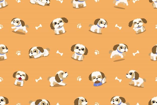 ベクトル漫画のキャラクターシーズー犬のシームレスパターン