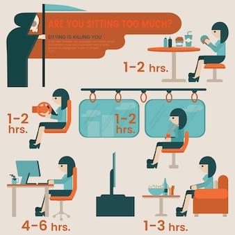 不健康なライフスタイルの概念。座っていると、情報の要素にリスクがあります。