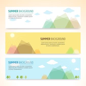 夏休みバナーデザインベクトルのセット